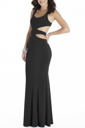 Private Label Black High Slit Gown Side Cutout E70036