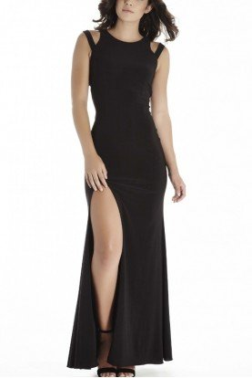Black High Slit Gown E70037