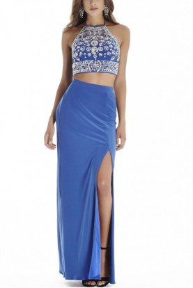 Blue Two Piece Halter Gown E70025