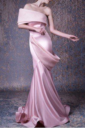 Peach Off Shoulder Mermaid Gown G1038