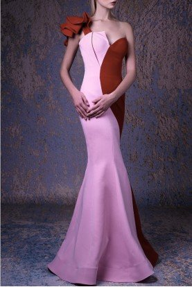 Gaby Charbachy Two Tone One Shoulder Mermaid Gown G1041