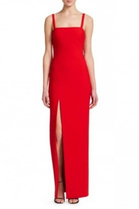 Red Bethany Column with Slit Gown YD885001LYB
