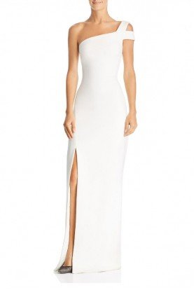 White One Shoulder Maxson Gown YD269001LY-W
