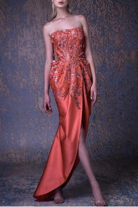 Coral Strapless Evening Gown G1050