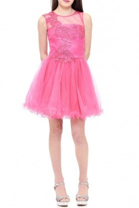 Pink Floral Embroidered Tulle Dress TW11505-F
