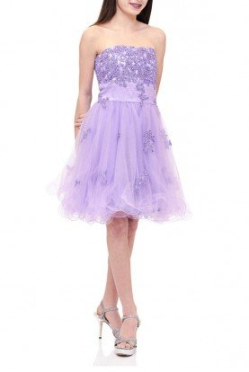 Lexie by Mon Cheri Purple Floral Applique Strapless Dress TW11504