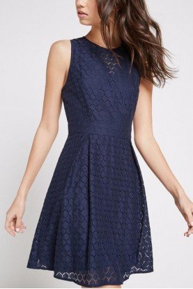 Blue Honeycomb Lace Flare Dress ECP64L45
