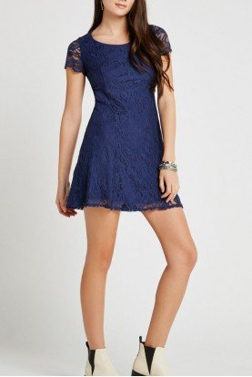 BCBGeneration  Blue Lace A-Line Dress XWS61G47
