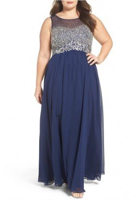 Navy Beaded Empire Bodice Gown 183428W