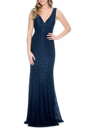Navy Sparkle Detailed Sleeveless Lace Gown 183626