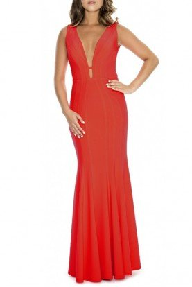 Red Sleeveless Fit and Flare Gown 183910