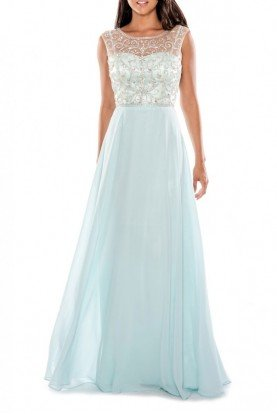 Mint Beaded Chiffon A-Line Gown 183341W