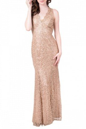 Gold Scoop Back Sequined  Gown 183963