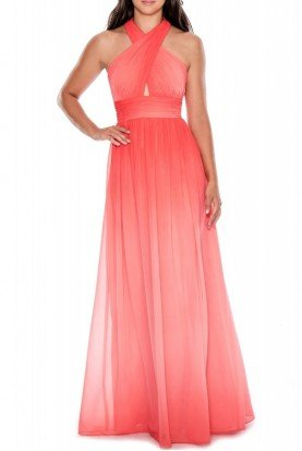 Ombre Halter Ruched Open Back Gown 183099