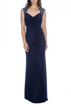 Navy Bead Embellished Strap Gown 182852