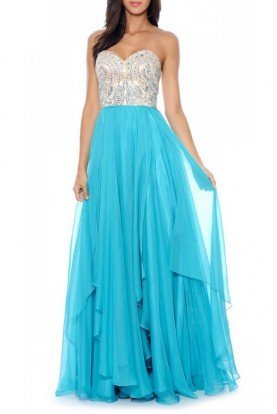 Seafoam Beaded Sweetheart Empire Gown 182502