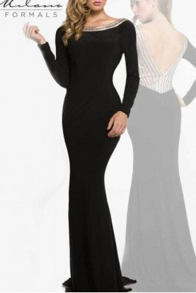 Milano Formals Black Jersey Long Sleeved Gown E1859