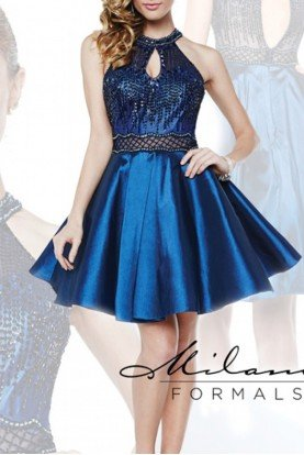 Milano Formals Navy Keyhole Open Back Illusion Dress E1888
