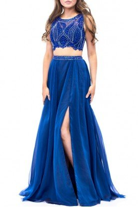 Blue Beaded Two Piece Chiffon Gown E1958