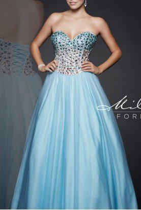 Sky Blue Strapless Beaded Ballgown E1715