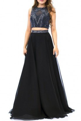 Milano Formals Black Cut Out Beaded Two Piece Chiffon Gown E1966