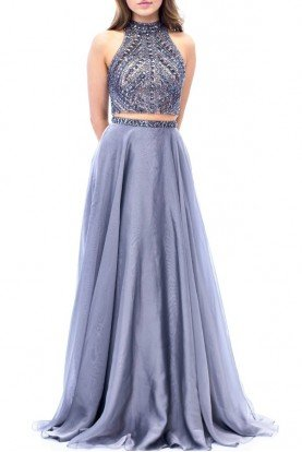 Gunmetal Beaded Two Piece Chiffon Gown E1940