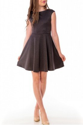 Dark Grey Cap Sleeve Dress R3243KL-G