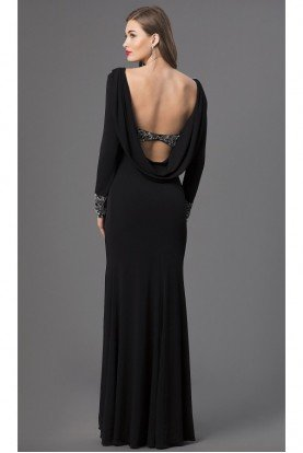 Black  Long Sleeve Evening  Gown Open Back Beaded