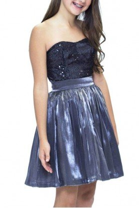 Grey Shimmer Bodice Dress T2183JM