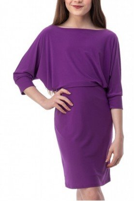 Purple Dolman Sleeve Dress T2994K-Purple