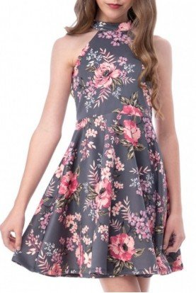Grey Floral Skater Dress R3328KL-Floral