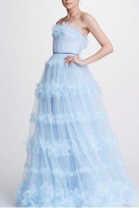 Blue Strapless Tulle Ball Gown N32G0920