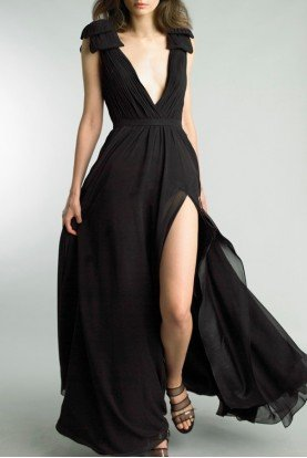 Black Plunging Sleeveless Evening Gown D9173L