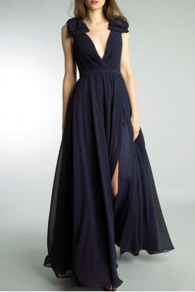 Navy Plunging  Sleeveless Evening Gown D9173L