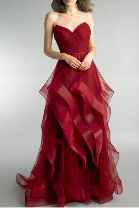 Wine Strapless Ruffled Evening Gown D8819L