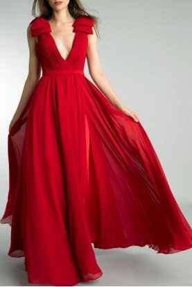 Red Sleeveless V Back A Line Evening Gown  D9173L