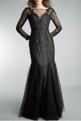 Black Sheer Long Sleeve Mermaid Gown