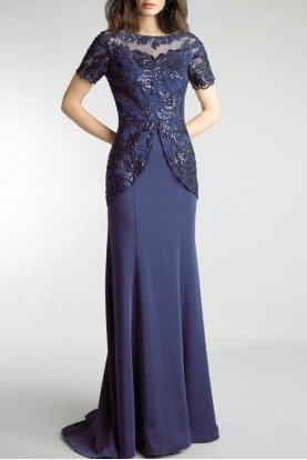 Navy Short Sleeve Bead Embellished Gown D9255L