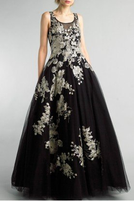 Basix Black Label Black Gold Sleeveless Floral A Line Gown D8770L