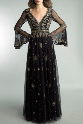 Black Embellished Bell Long Sleeve Gown  D9107L