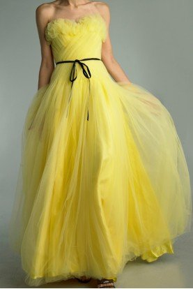Yellow Strapless Lace A Line Gown D9378L