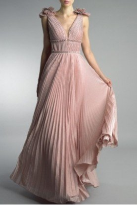 Mauve Sleeveless Pleated Evening Gown D9418L