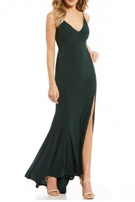 Forest Green V-Neck Gown 10695-Green