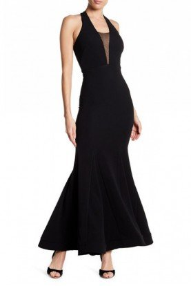 Black Racerback V-Neck Mermaid Gown 10636