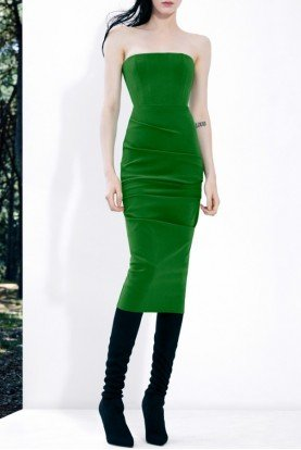 Green Strapless Stretch Crepe Midi Dress  D518