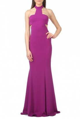 Jay Godfrey Purple Halter Cut-Out Mermaid Gown Conor