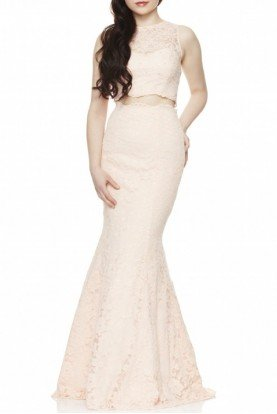 Xscape Salmon Lace Two-Piece Mermaid Gown XS8423