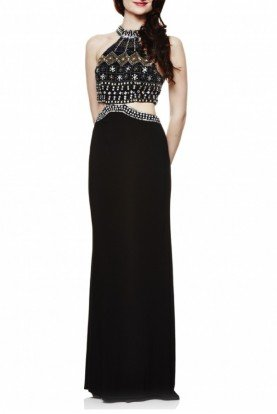 Black Beaded Top Cut Out Gown XS8252