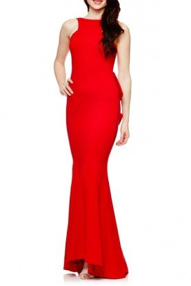 Red Jersey Open Back Mermaid Dress XS8305