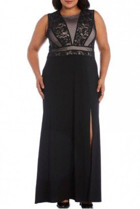 Black Sequined Lace Top Gown 21311W